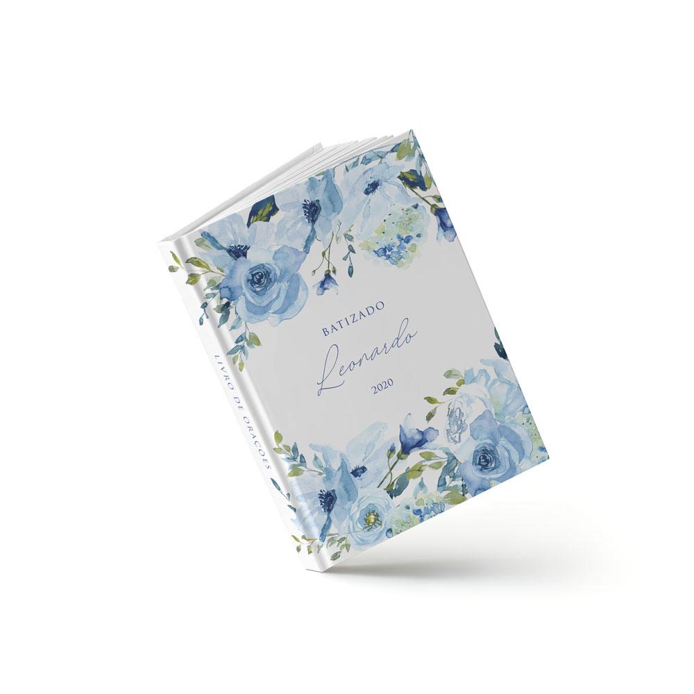 Livro Batizado - Floral Azul - Sweetcards
