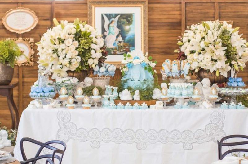 decoração batizado com tema anjinhos